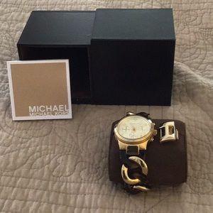 Michael Koran tortoise shell and gold link watch